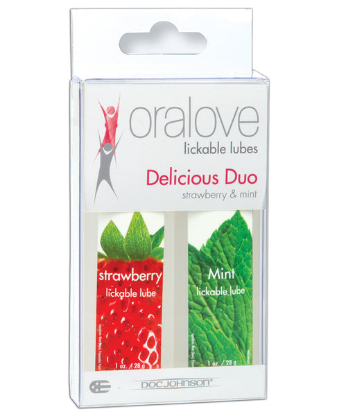 Oralove Delicious Duo Flavored Lube - Strawberry & Mint
