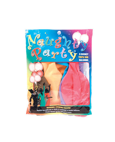 Naughty Party Boobie  Balloons - Asst. Colors Pack of 6