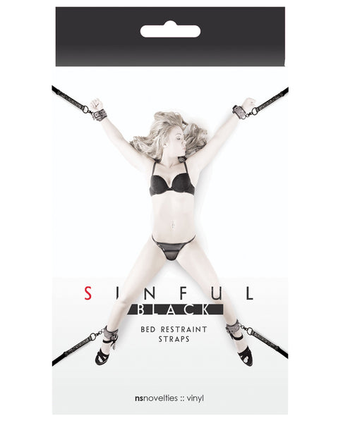 Sinful Bed Restraint Straps - Black
