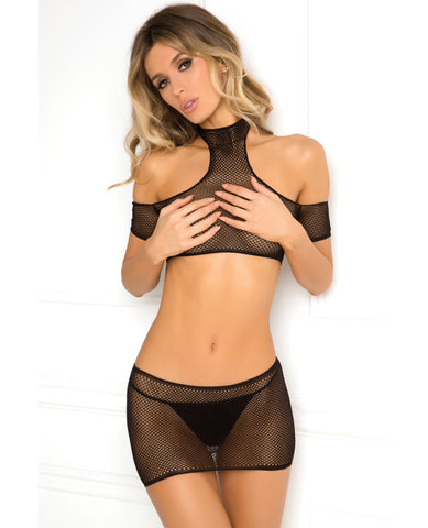 Rene Rofe Cold Shoulder 2pc Crochet Bodystocking - Black