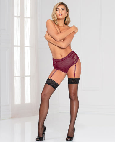 Lace & Dotted Mesh High Waist Panty w/Removable Garters - Wine
