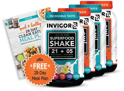 INVIGOR8 Superfood Grass-Fed Whey Protein Shake (4 Pack)