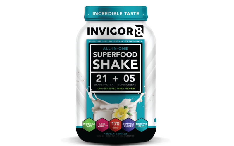 invigor8 superfood shake chocolate french vanilla flavor