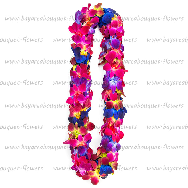 FRESH DOUBLE LEIS - RAINBOW DYED SONNIA
