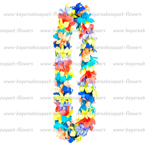 FRESH DOUBLE LEIS - RAINBOW DYED WHITE