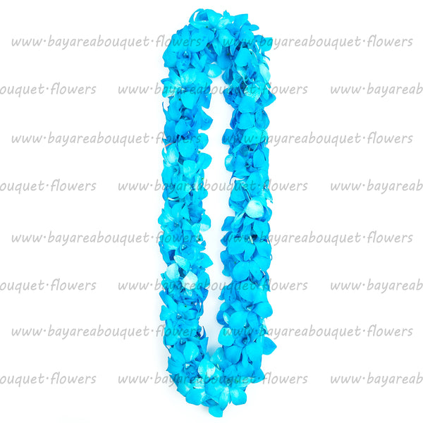 FRESH DOUBLE LEIS - BLUE DYED WHITE