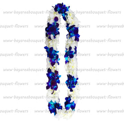 FRESH DOUBLE LEIS - BLUE SONNIA & WHITE