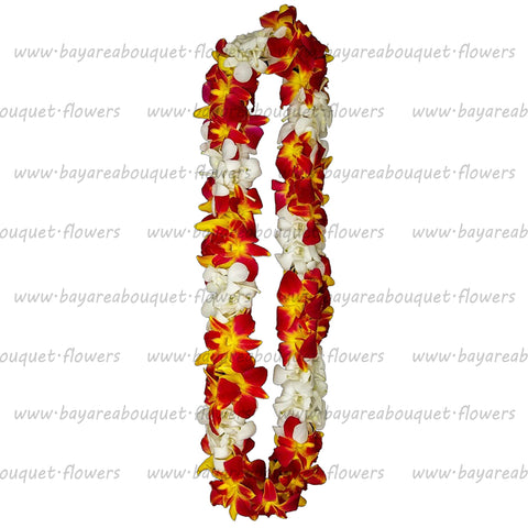 FRESH DOUBLE LEIS - YELLOW SONNIA & WHITE
