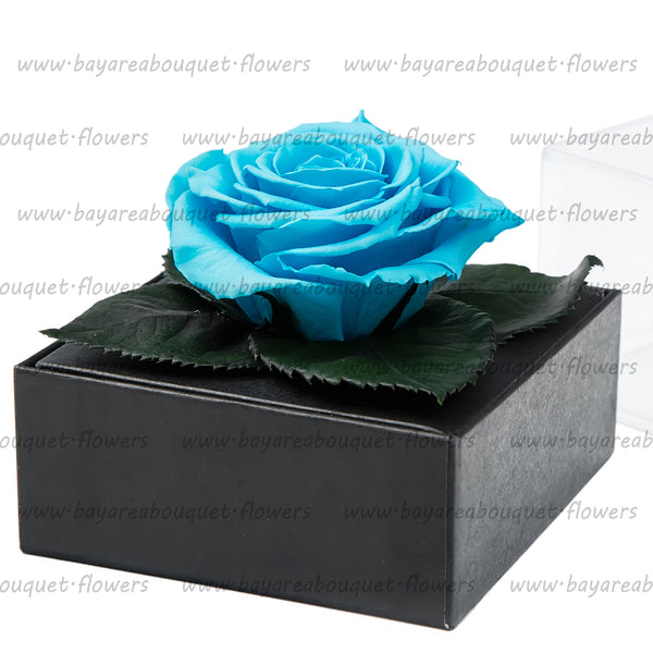 PRESERVED ROSE GIFT BOX BRIGHT BLUE