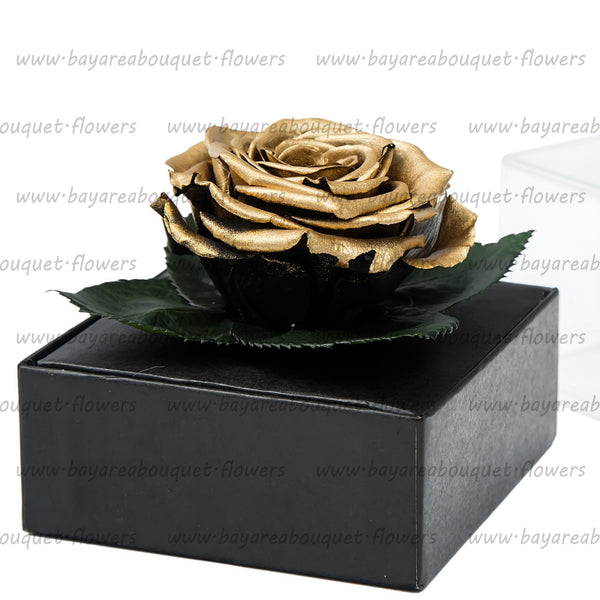 PRESERVED ROSE GIFT BOX METALIZED FINISH GOLD
