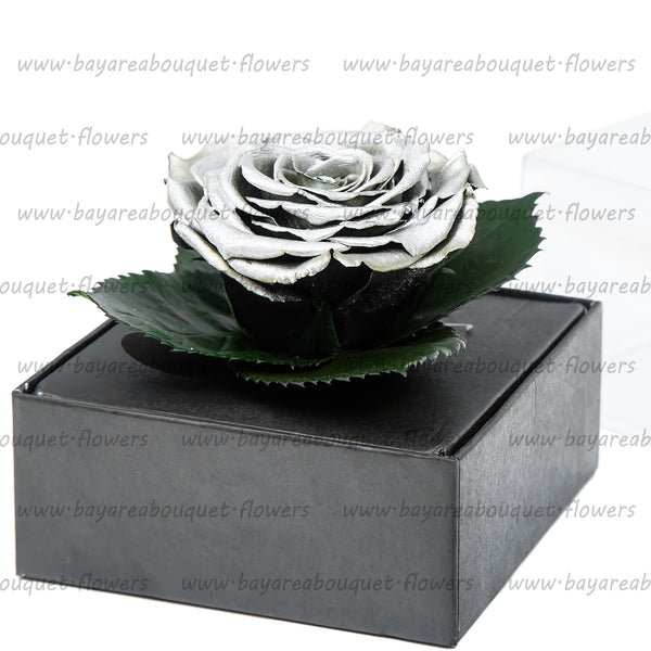 PRESERVED ROSE GIFT BOX METALIZED FINISH SILVER