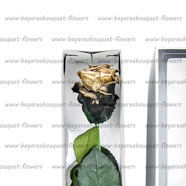 PRESERVED ROSE SINGLE STEM METALIZED FINISHED COPPER