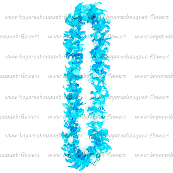FRESH SINGLE LEIS - BLUE DYED WHITE