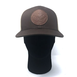 Brown C4 Copacetic Leather Patch Mesh Snapback - Care Four