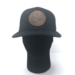 Navy C4 Copacetic Leather Patch Mesh Snapback - Care Four