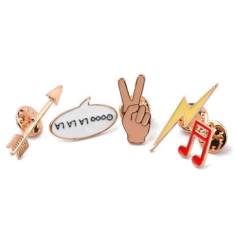1 Set Musical Note Arrow Lightning Design Creative Metal Badge Pin on Badges Shirt Collar Brooch Apparel Sewing Accessories