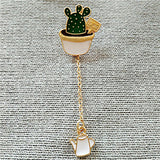 1Pc The new fashion Lovely green cactus Bonsai plants Enamel girl brooch free shipping new drip pin badge