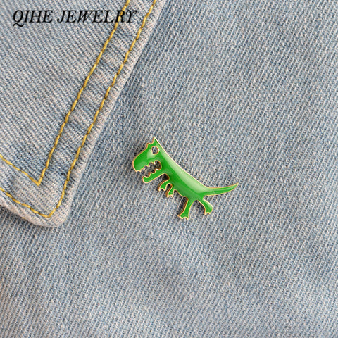 QIHE JEWELRY Green Enamel Dinosaur Badge Lapel Pin Brooches For Bag Backpack Accessories Kids Gift