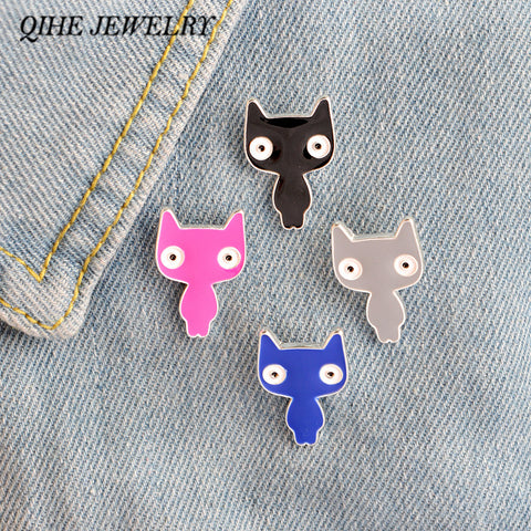 QIHE JEWELRY 4 Color Cat Brooch Pins For Women Kids Cute Sweater Clips Cat Jewelry Animal Pins