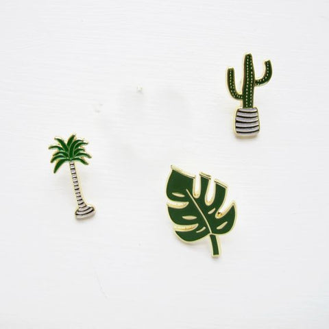1PC Coconut Tree Cactus Leaf Metal Enamel Brooch Pin
