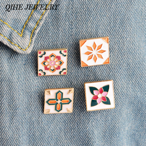 QIHE JEWELRY Multi-designs Creative Vintage Pattern Shirt Collar Bag Jean Hat Enamel Brooch Pins Button Badge