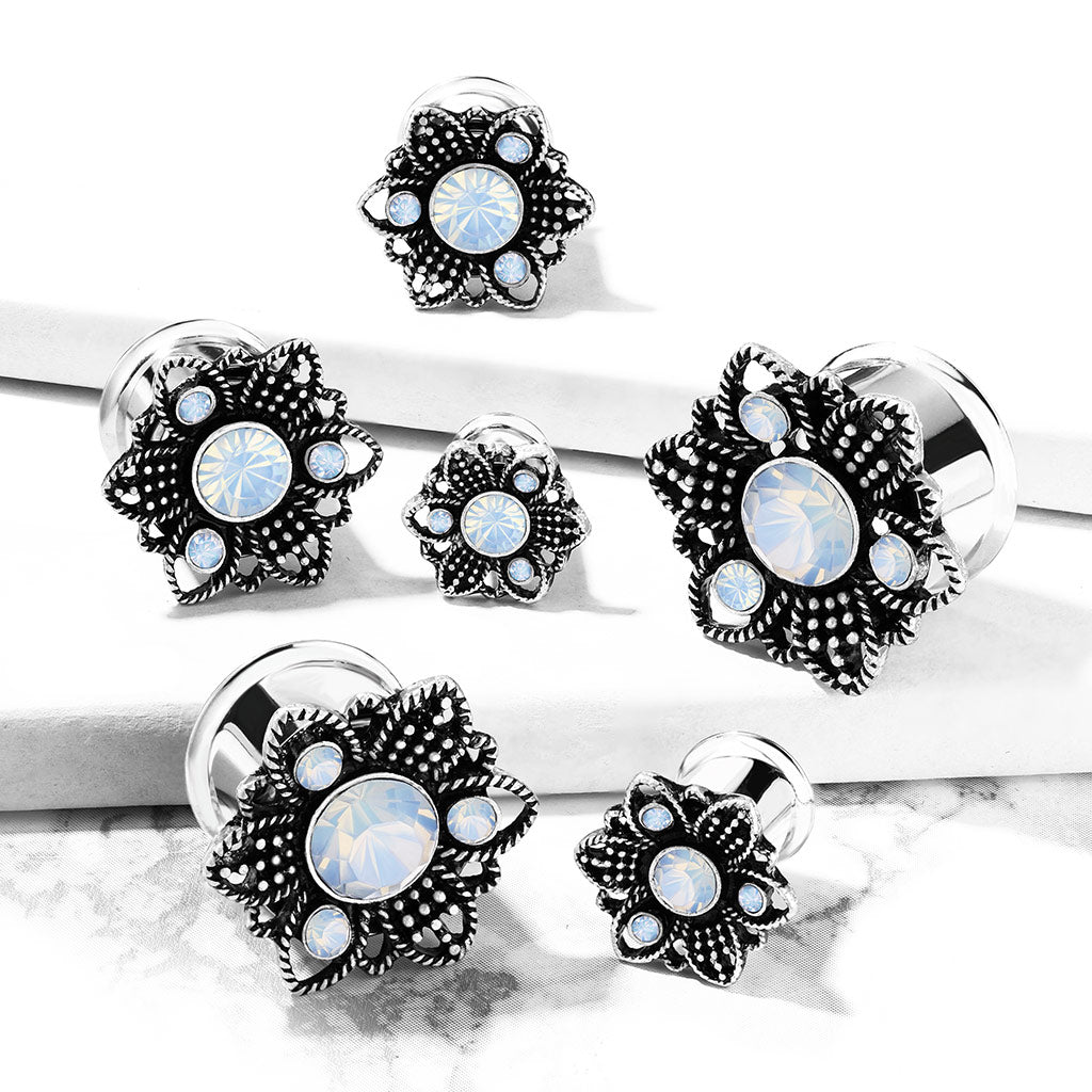 Opalite Crystal Silver Flower Double Flared Tunnel Gauges