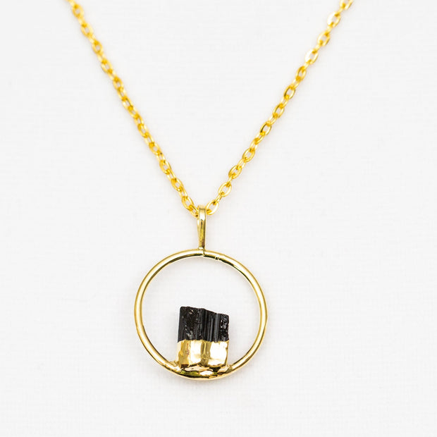 Black Tourmaline Gold Circle Pendant Necklace