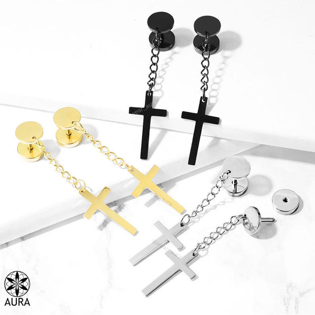 Cross Earring on Dangle Chain Faux Plugs