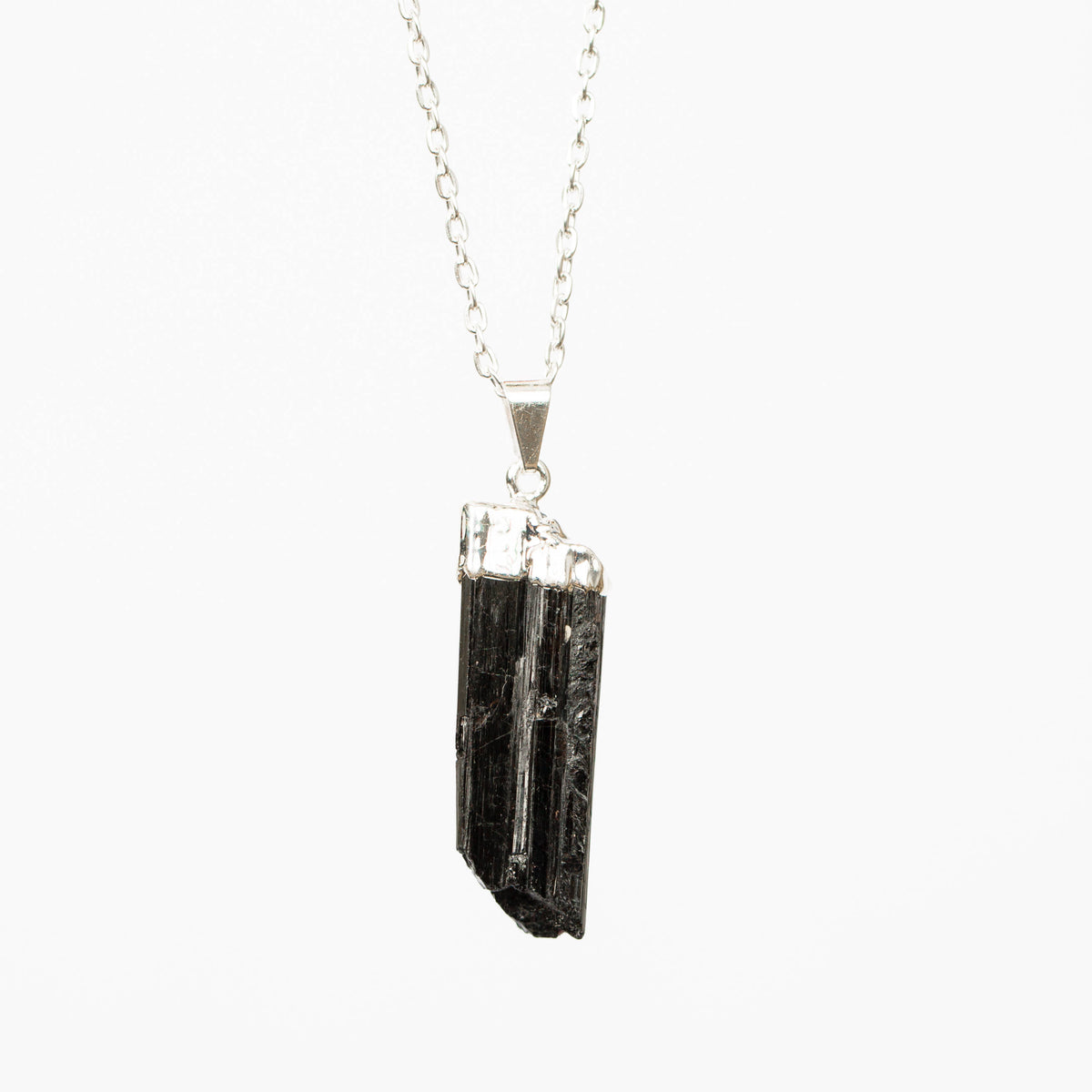Raw Black Tourmaline Pendant Necklace (Silver)