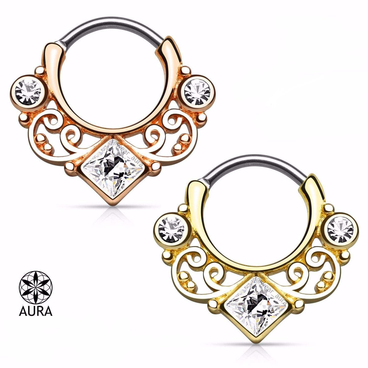 Lace Swirl Square CZ Gold Rose Gold Or Gold Septum Clicker Round Bar Rings