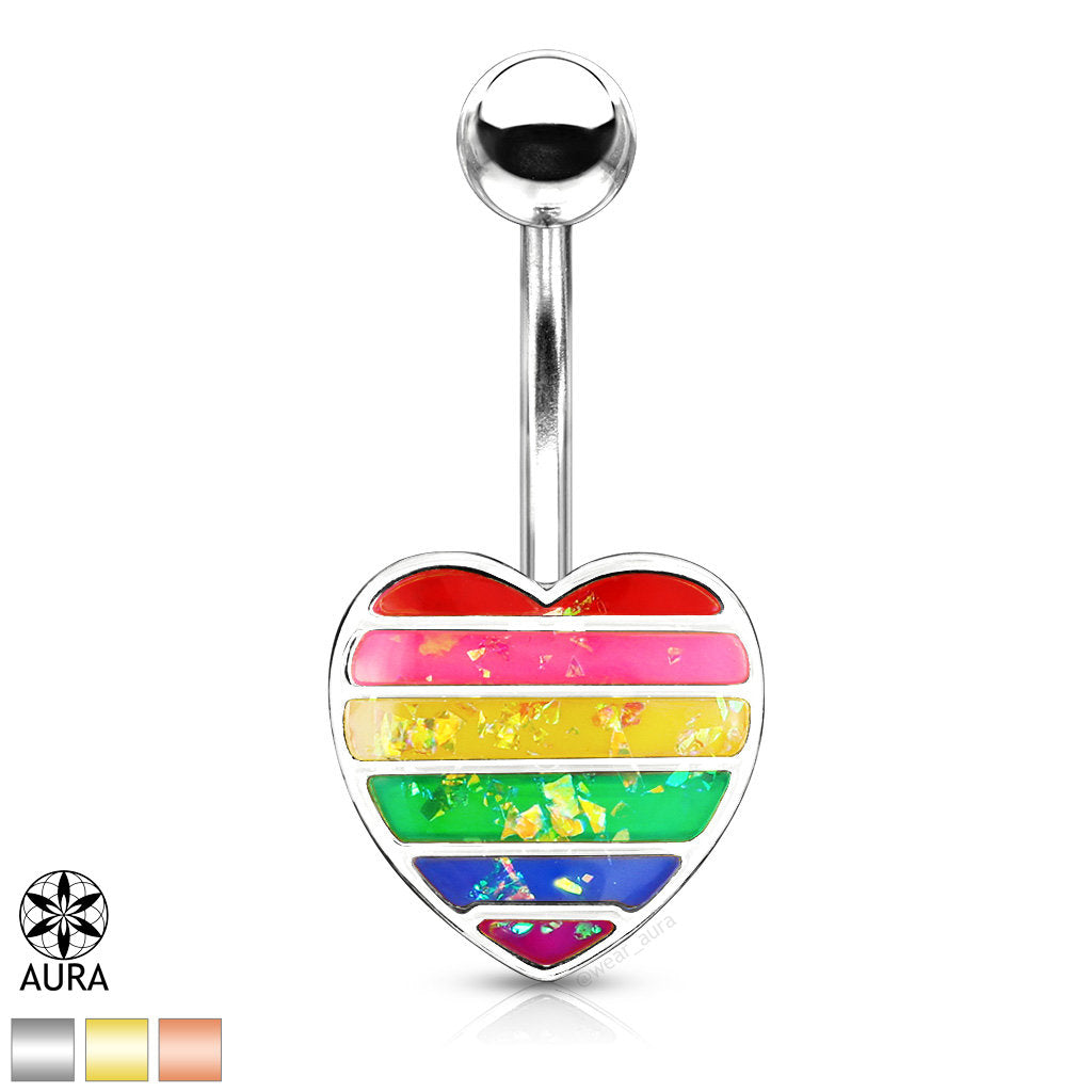 Rainbow Resin Glitter Filled Heart Belly Button Rings