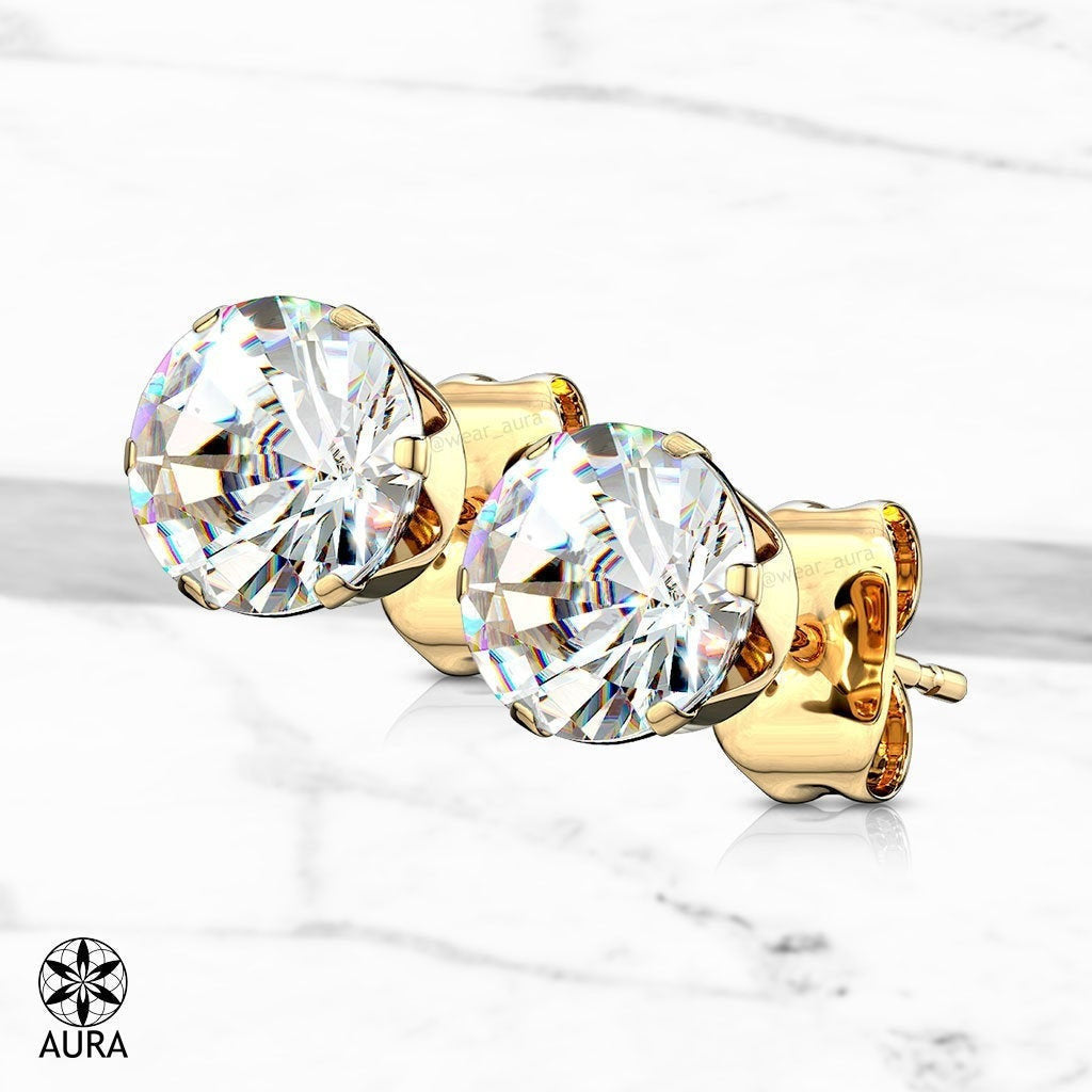 Round Crystal CZ Gold (Pair) Stud Earrings