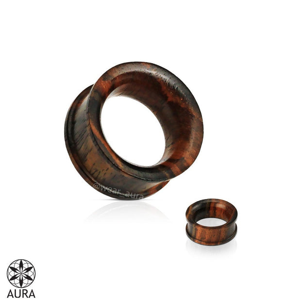 A Pair of Organic Sono Wood Concave Double Flat Flared Tunnel Plugs