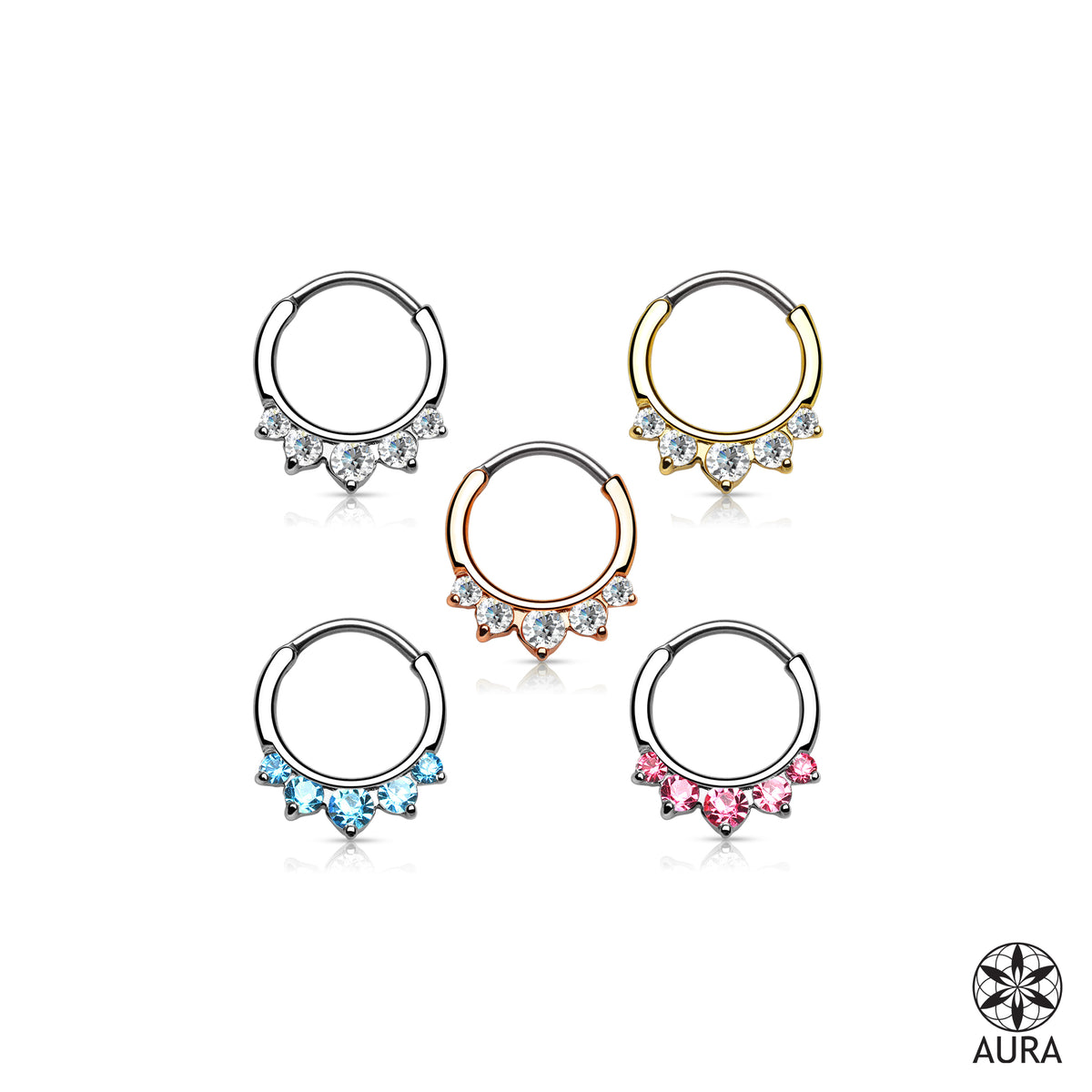 Crystal 5 Stone Round Septum Hanger Clicker Round Bar Rings