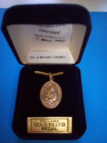 Our Lady of Mount Carmel 14K Gold Filled Scapular Medal