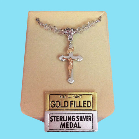 Crucifix - Sterling Silver with 14KT Gold Filled