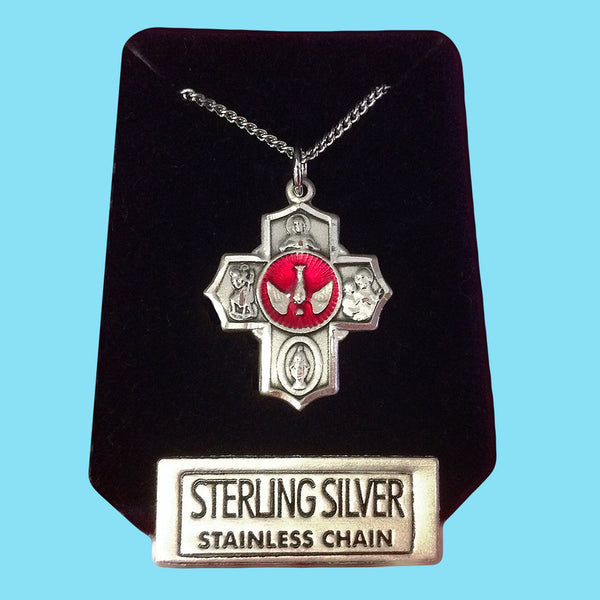 5 Way Confirmation Cross - Sterling Silver with Red Epoxy