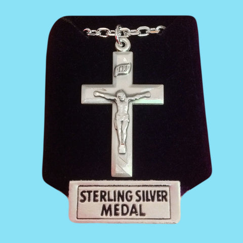 Crucifix -Sterling Silver - Engraved