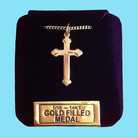 Diamond Cut Cross - 14KT Gold Filled
