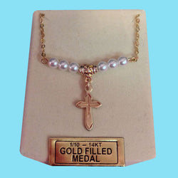 Cross with Pearls -14KT Gold Filled