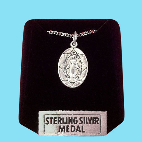 Miraculous Medal - Diamond Cut - Sterling Silver
