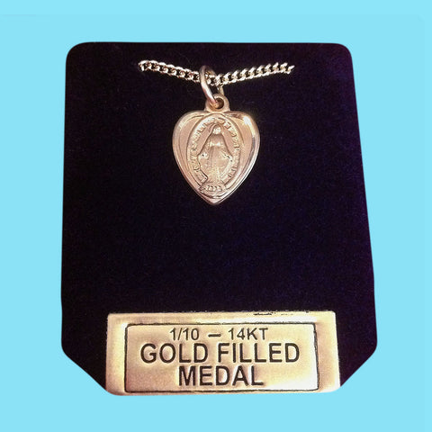 Miraculous Medal - Heart Shaped - 14 KT Gold Filled