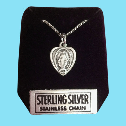 Miraculous Medal - Heart Shaped - Sterling Silver