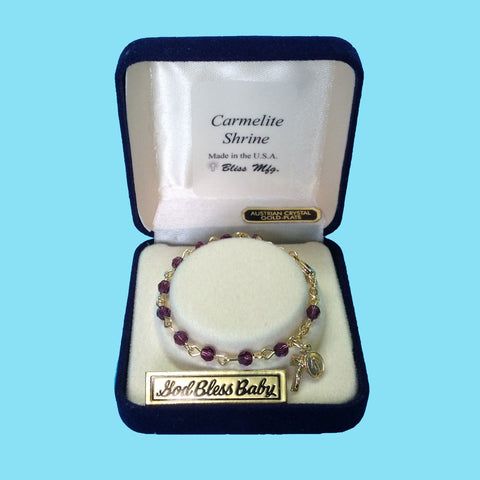 Infant Rosary Bracelet - Gold Plated - Amethyst