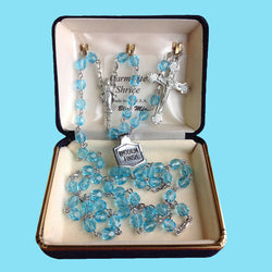 Rosary - Silver Plated with Aqua Beads