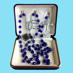 Rosary - Silver Plated with Dark Sapphire Beads