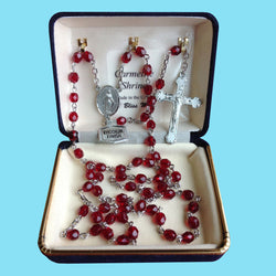 Rosary - Silver Plated with Garnet Beads