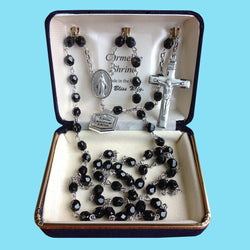 Rosary - Silver Plated with Black Beads