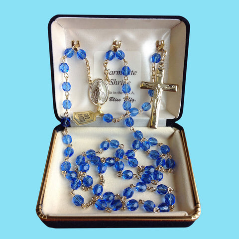 Rosary - Gold Plated with Sapphire Beads