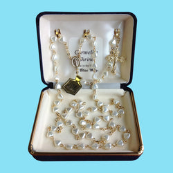 Rosary - Gold Plated with Pearl Heart Beads